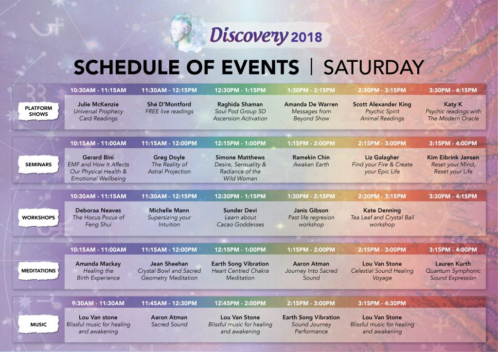discovery schedule of events conscious life events